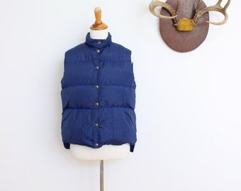 Vintage LL Bean Down Vest Navy Blue // LLbean Puffy Ski Vest Large