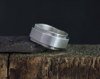 Sterling Silver Hex Nut Ring, Hexagon Ring, 2 in 1 Silver Ring, Mans Wedding Band, Chunky Silver Ring, 10mm Wide Band, Ready to Ship Size 8