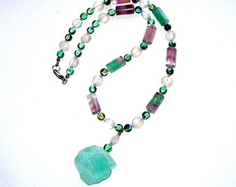 Green Gemstone Beaded Pendant Necklace, Glacier Ice, Hand Made in the USA