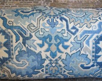 3BMod Designer Pillow Cover Lumbars, 16 x 16, 18 x 18, 20 x 20, 22 x 22, 24 x 24, 26 x 26 -  MDB Southwest Floral Transitional Blue