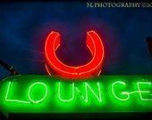 Western Photograph Austin Texas Horseshoe Neon Bar Sign Night Life Fine Art Photography