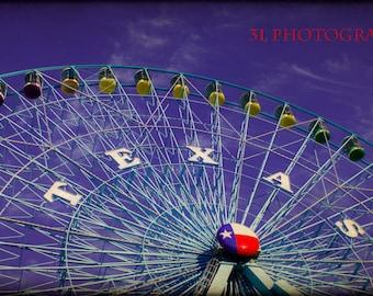 Fine Art Photography, State Fair of Texas, Ferris Wheel, Texas Art Print, Carnival