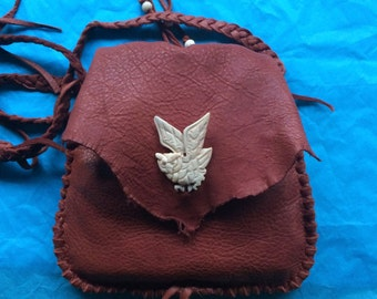 Owl Brown Deerskin Purse, Owl Medicine Bag, Shamanic Medicine Bag,  Possibles Bag, Amulet Bag, Handbag, Owl Totem Bag, Natural Edge, Pocket