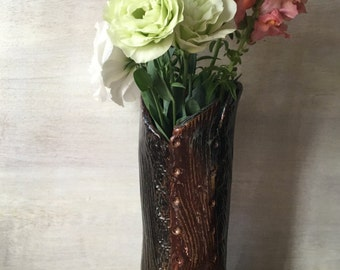 Faux Bois Ceramic Vase - Handmade Pottery Utensil Holder - Rustic Pottery Decor - Bark Imprinted Ceramic Vase - Nature Inspired Pottery