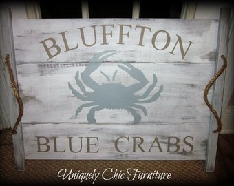Crab Pallet Wood Art~Ottoman Tray-Custom TEXT Available-Coffee Table Tray~Beach~Nautical~Coastal