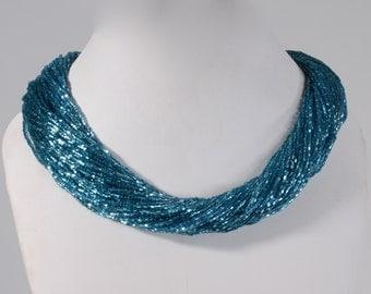Vintage 1930s Blue Choker Necklace - Filigree Clasp - Beaded Bridal Fashions
