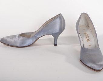 Vintage 1950s Satin Wedding Shoes - Periwinkle Blue Rhythm Step - Bridal High Heels - Size 8 N 7