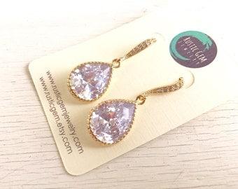 Bridal Drop Earrings. Wedding Jewelry. Cubic Zirconia Drop Earrings in Gold. Dangle Earrings. Bridal Jewelry.