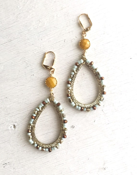Unique Earrings with Paisley Open Teardrop in Gold, Brown, Blue and Mustard. Long Statement Earrings.