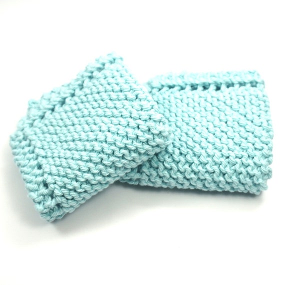 Aquamarine,Cotton Knit Dishcloths, Kitchen Cleaning, Wash Cloths, Grandma's Favorite Dish Rag, Hot Pads, Set of Two, Knitted Dish Cloths