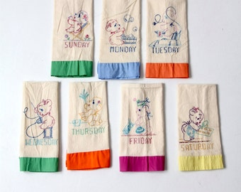 embroidered dish towels, vintage Days of the Week kitchen towels set