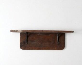 SALE antique wood shelf, rustic wooden wall mantle