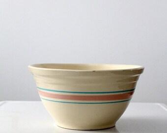 """SALE vintage McCoy bowl, 12"""" Bowl, Pink & Blue Stripe"""