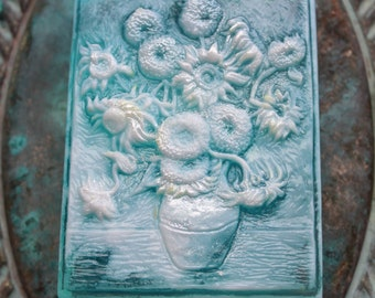 Van Gogh's SUNFLOWERS IN SOAP - You Choose the Style, Vincent Van Gogh - Sunflowers 1888, Scented in Lemon Ginger Tea