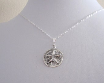Sanddollar sterling silver pendant with chain necklace