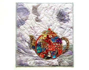 Embroidered teapot small textile housewarming art for modern bohemian tea lovers