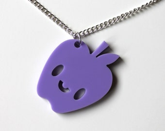 Happy Apple lilac pendant on silver chain necklace