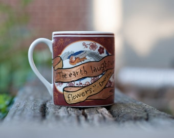 """Emerson """"The earth laughs in flowers"""" Vintage floral mug - William Morris style - Literary quote mug - Hand painted banner"""