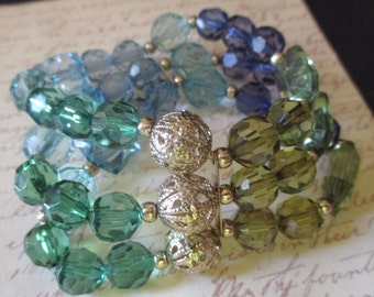 Crystal Stretch Bracelet Filigree Beads 3 Strand Great Colors
