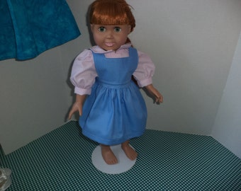 Pink Stripe Dress and Blue Apron for 18 inch dolls