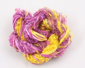 Fuchsia purple yellow Silk embroidery Thread ribbon Hand Dyed Variegated quilting thread weaving supply scrapbook embellishment hand dyed
