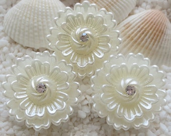 Stunning 3D Acrylic Pearlized & Crystal Flower Cabochon/Bead - 26mm - Cream - CHOICE 12 or 24 pcs