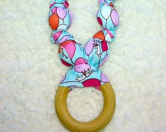 Up and Away Tula Fabric - teething, nursing, wood ring & fabric necklace, jewelry for mom, breastfeeding distraction
