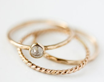 Rose cut silver grey diamond ring, engagement ring, coloured diamond, rustic, alternative, modern, organic, april birthstone