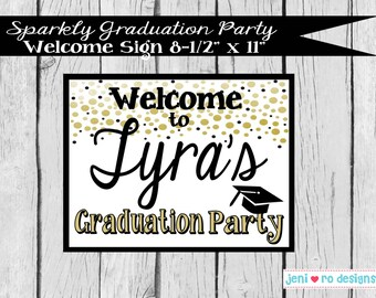 Sparkly Graduation Party Printable Welcome Sign - Personalized