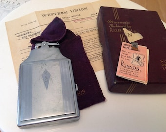 Vintage Ronson combination lighter and cigarette case signed