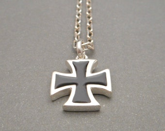 Mens Silver Cross Necklace - Mens Necklace - Cross Pendant - Mens Jewelry - Cross Charm - Gift for Men - Gift for Him - Cross Jewelry