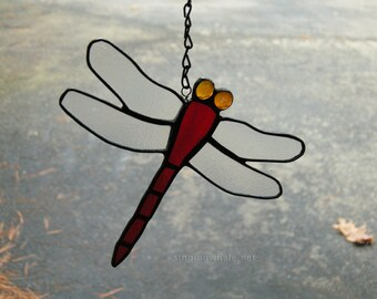 Stained glass dragonfly, red dragonfly