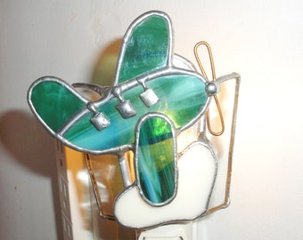 LT Stained glass Plane night light lamp made with green streaked glass and white glass