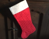 Christmas Stocking Red White Quilted Zig Zag Stitch