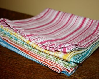 6 Six Vintage Cabana Stripe Cloth Placemats Yellow Blue Green Orange Teal Red Multi-Color Cotton
