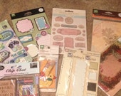 8 Piece Scrapbooking Embellishments, Stickers, Metal plates, Cardstock, Transparencies, Crochet Applique, Buttons, chipboard - destash