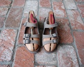 VTG Womens Size US 6 ~ EU 36 Mephisto Mobils Genuine Leather Sandals Slingbacks Double Strap Beige Peep Toe Spring Fashion Beach Boat Shoe