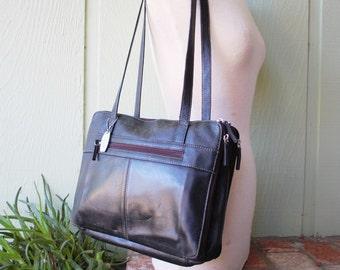 Vintage Tignanello Black Leather Purse Tote Bag Shoulder Bag Ipad Carrier Case Laptop Computer Bag Organizer Durable Classic Quality Brief