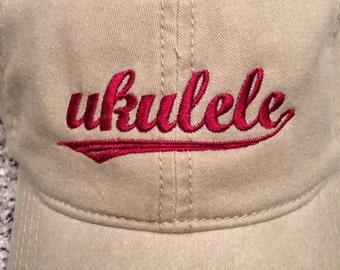 Ukulele Embroidered Hat Cap - Ukulele Tail