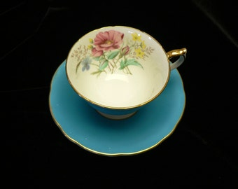 Aynsley Turquoise Floral Rose Decor  Bone China Cup and Saucer