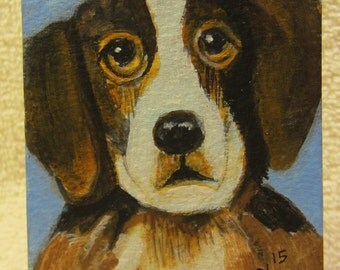 Sweet Puppy with Dreamy Eyes; Acrylic painting, Original