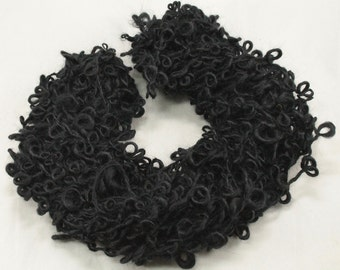 Handspun art yarn Boucle, Mohair  loops, 3.7 oz, 36 yards