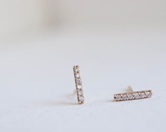 Pavé Diamond Bar Earrings | 14k Gold | Vertical Diamond Bar Earrings