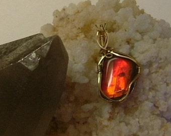 Bright Gem Red Fire Ammolite from Utah Deposit Wire Wrapped Pendant Using Gold Filled Wire 476