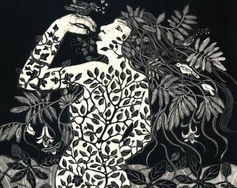 Greenwood Woman Art Print of Scraperboard Original