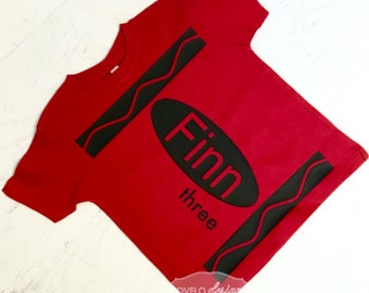 Custom Crayon T-shirt in Red for Birthday Party