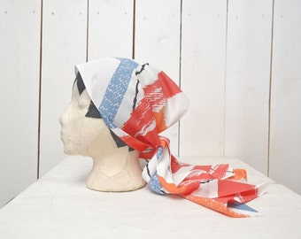 Abstract Print Head Scarf 1960s Op Art Vintage Avon Skinny Driving Neck Scarf Red White Blue