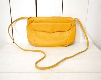Leather Cross Body Bag 1980s Mustard Yellow Vintage Long Shoulder Strap Purse