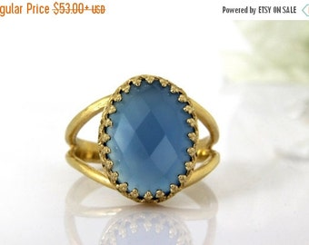 SUMMER SALE - blue chalcedony ring,gold ring,oval ring,Emotional balance ring,Endurance ring,energy ring,gemstone ring