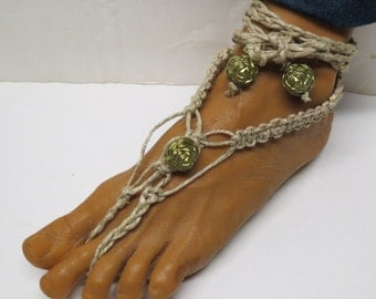 SALE Pair of Green rose barefoot sandals made with hemp.  Beach and bellydance fashion. HFT-A271